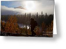 Sunrise Hiker Greeting Card by Chris Heitstuman