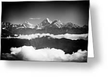 Sunrise Himalayas Mountain Nepal Silhouette Greeting Card