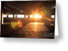 Sunrise In Garage Interior Structure Greeting Card
