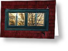 Sunrise In Old Barn Window Greeting Card