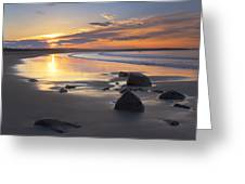 Sunrise On A Beach Near The Port Greeting Card