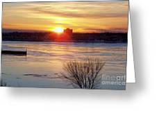 Sunrise On A Cold Frozen Niagara River Greeting Card