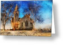 Sunrise On A Rural Church 12 Greeting Card