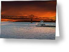 Sunrise On The Illinois River Greeting Card
