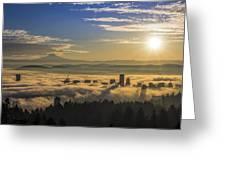 Sunrise Over Foggy Portland Greeting Card