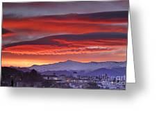 Sunrise Over Granada And The Alhambra Castle Greeting Card