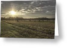 Sunrise Over Hayrolls Greeting Card