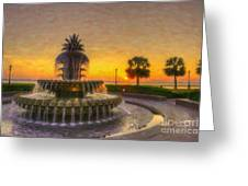 Sunrise Over Pinapple Fountain Greeting Card