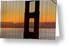 Sunrise Over San Francisco Bay Through Golden Gate Bridge Greeting Card