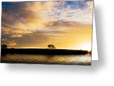 Sunrise Over Silouette Landscape Greeting Card