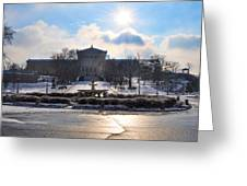 Sunrise Over The Art Museum In Winter Greeting Card