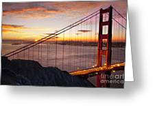 Sunrise Over The Golden Gate Bridge Greeting Card