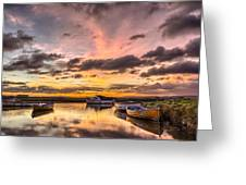 Sunrise Over The Old Salmon Boats Greeting Card