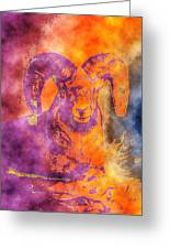 Sunrise Ram Water Color Greeting Card