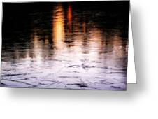 Sunrise Reflected On Icy Pond Greeting Card