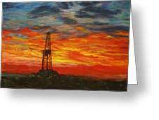 Sunrise Rig Greeting Card by Karen  Peterson