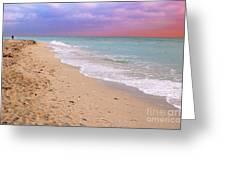 Sunrise Surf At Miami Beach  Greeting Card