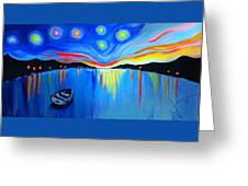 Sunrise At The Lake - Van Gogh Style Greeting Card
