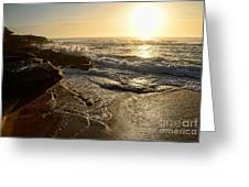 Sunrise Waves On The Rocks By Kaye Menner Greeting Card