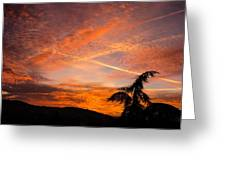 Sunrise With Orange And Red Clouds In The Sky Greeting Card