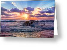 Sun's Rays By The Old Coral. Greeting Card