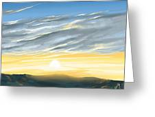 Sunset Above The Hill Greeting Card