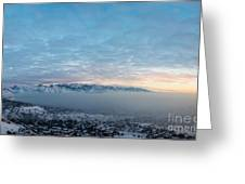 Sunset Above The Smog  Greeting Card