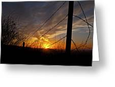 Sunset Along The Fence Yellow Red Orange Fine Art Photography Print  Greeting Card
