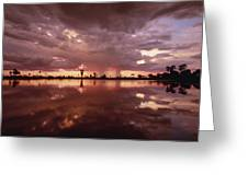 Sunset And Clouds Over Waterhole Greeting Card