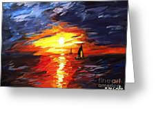 Sunset And Sails Greeting Card