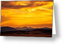 Sunset And Smoke Covered Mountains Greeting Card