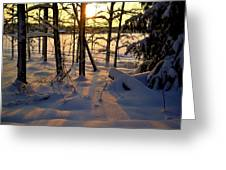 Sunset And Snow Greeting Card