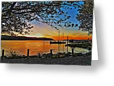 Sunset And Spring Blooms Greeting Card