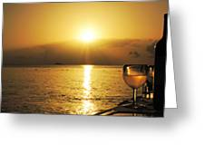 Sunset And Wine Greeting Card