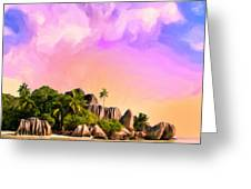 Sunset At Anse Source Argent Seychelles Greeting Card