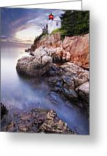 Sunset At Bass Harbor Lighthouse Greeting Card