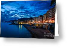 Sunset At Camogli In Liguria - Italy Greeting Card