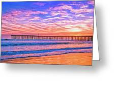 Sunset At Cayucos Pier Greeting Card