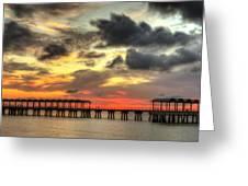 Sunset At Clam Creek Fishing Pier Greeting Card