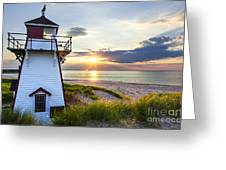 Sunset At Covehead Harbour Lighthouse Greeting Card by Elena Elisseeva