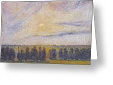 Sunset At Eragny, 1890 Greeting Card
