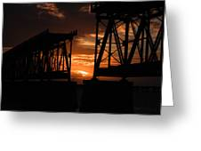 Sunset At Flagler Bridge 2 Greeting Card