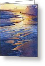 Sunset At Galveston Beach Greeting Card