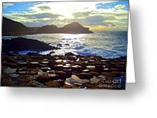 sunset at Giant's Causeway Greeting Card