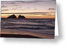 Sunset At Holywell Bay Greeting Card
