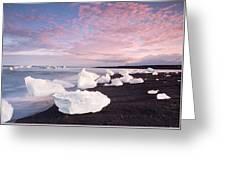 Sunset At Ice Beach Greeting Card