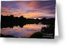 Sunset At Japanese Garden Greeting Card