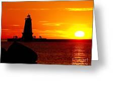 Sunset At Ludington Greeting Card