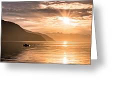 Sunset At Lyngenfjord Greeting Card