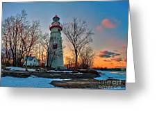 Sunset At Marblehead Lighthouse Greeting Card